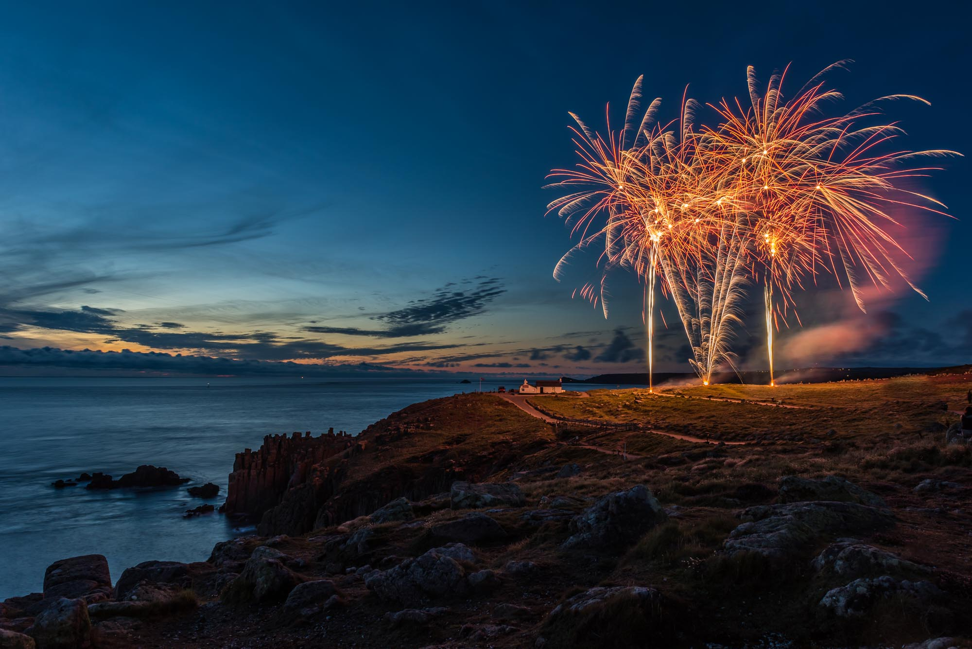 fireworks at night in cornwall